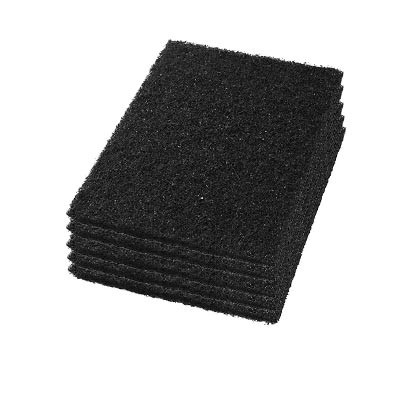 Case of 12 x 18 inch Black Floor Stripping Square Pads