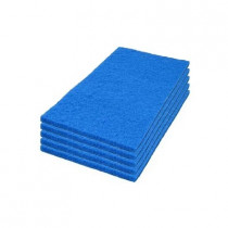 Case of 14 x 28 inch Blue Rectangular Floor Scrubbing Pads
