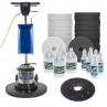 Floor Buffer Stripping & Rewaxing Package with Pads & Stripping Chemicals